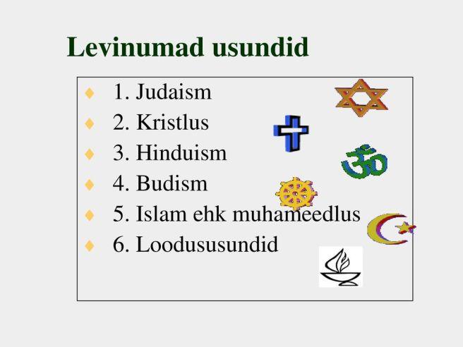 5. Islam ehk muhameedlus. 6. Loodususundid.